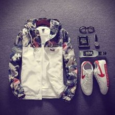 Plus Size Floral Men Jacket Hip Hop Bomber Slim Fit Flowers Pilot Coat Hooded-white
