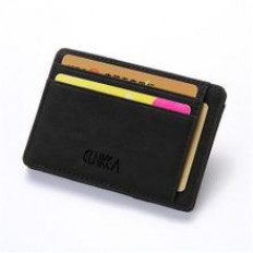 Men Slim Billfold Wallet PU Leather Coin Money Clip Zip Bag Black