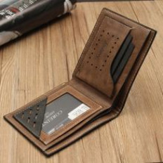 Simple Fashion Mens Leather Wallet Credit/ID Card Holder Slim Coin Purse Pocket Coffee